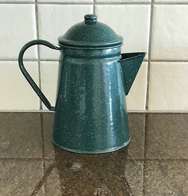 Mid Century Enamel Ware Coffee / Tea Pot MIDCENTURY-MODERN RETRO COFFEE