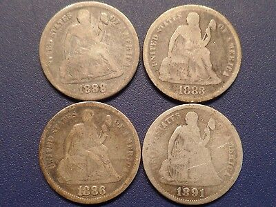 Lot of 4 Seated Liberty Dimes - Good Condition