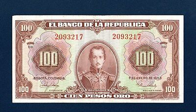 Colombia 100 pesos 1953  Serie BB   Xtra Fine  ABNC 2093217  P394