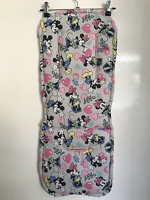 Grey Mickey & Minnie Mouse Pram Liner & Strap Covers Universal fit Handmade NEW