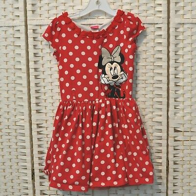 Disney Minnie Mouse Dress Red White Polka Dot Hearts At Neck Size 6 Lined Tule