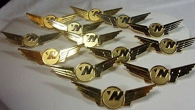 """Vintage Northwest Airlines Employee Badge Pin Gold plate Pin 2.5"""" Wide Old Stock"""
