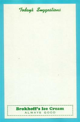 Pottsville, PA - Brokhoff's Ice Cream Menu Sheet #1 - 1950s NOS (New Old Stock)