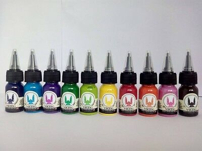 VIKING INK tinta tatuaje set 10 colores 1/2 oz (15 ml) TATTOO ink