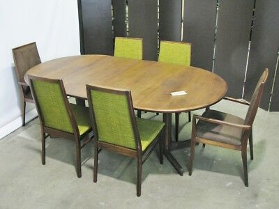 Mid Century Modern Dillingham Walnut Dining Set Table & 6 Chairs; Milo Baughman