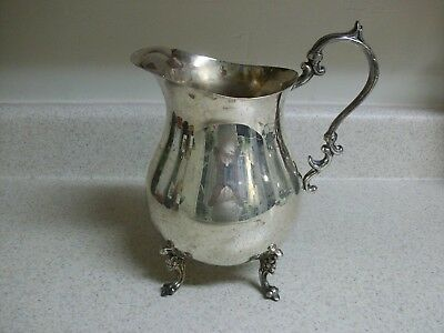 Vintage English Silver Mfg. Corp. Water Pitcher Silverplate Made in USA Footed