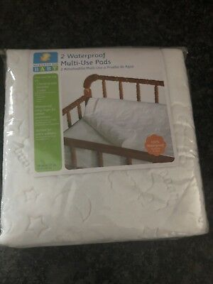 NIP MULTI-USE PADS 2-PACK Quilted Waterproof Liner Changing Crib Bassinet