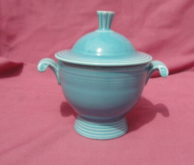 FIESTA China - Vintage TURQUOISE Color - COVERED SUGAR BOWL with Lid**