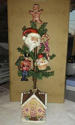 NIB Jim Shore Christmas Tree with 5 handcrafted Ornaments.