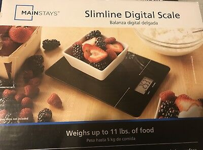 Mainstays Slimline Digital Food Kitchen Scale up to 11 Lbs Black MS87-020-100-01