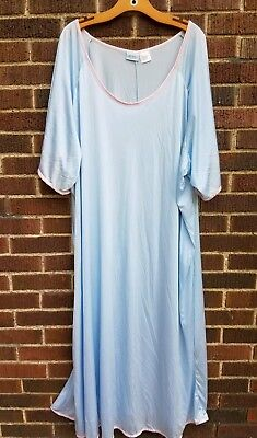 VTG Lane Bryant Womens Plus 4X Blue Pink  Long Nightgown Sleepwear Kimono