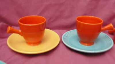 Two (2) Vintage FIESTA China - DEMITASSE CUP & SAUCER SETS Red Yellow Turquoise