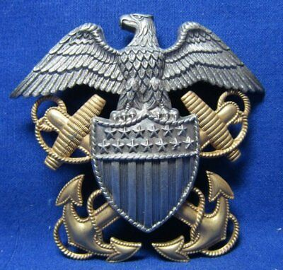 WWII Gold and Sterling Navy Naval Officer Large Hat Badge