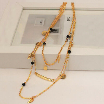 FT- 3 Layers Golden Clavicle Chain Black Beads Leaves Alloy Short Necklace Jewel