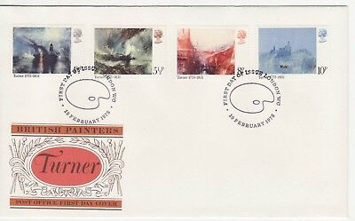GB Stamps First Day Cover Bicentenary Birth of Turner, painter SHS Palette 1975