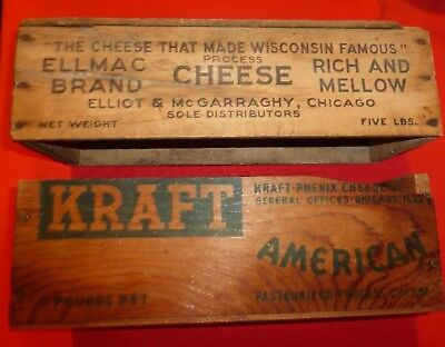 Lot of 2 wooden cheese boxes, 5lb kraft, 5lb Ellmac Brand/Elliot and McGarraghy