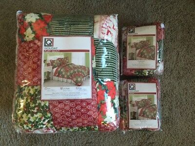 Christmas Holiday Puff Quilt W 2 Shams Full Queen New