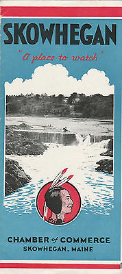 Skowhegan Maine,early Foldout Souvenir Brochure,old Photos,indian On Cover