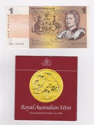 Last 1984 $1 Johnston & Stone Paper Note & First 1984 $1 coin UNC in folder.