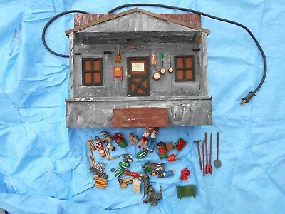 Hand Built & Painted Folk Art Cabin House Front Porch W/ Many Small Items Tools