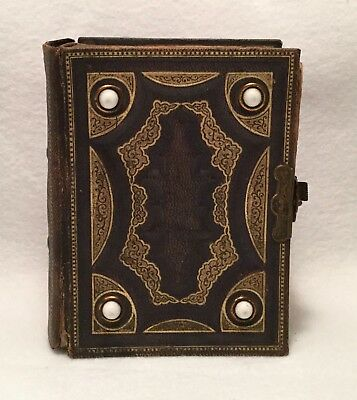19th c. Small Victorian Embossed Leather Photograph Album w/ Gilt Trim & Mounts