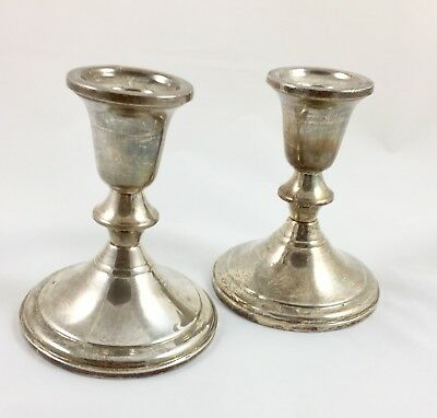 Vintage Silver Candlestick Holders GiftAmerica Sterling Weighted & Reinforced