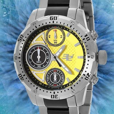 Brand New 32 Degrees Chronograph Yellow Pattern Dial w two tone SS Link NWT HM
