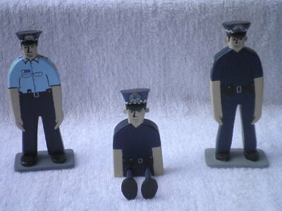 Set of 3 Locally Handcrafted Wooden Shelf Sitter Ornaments - Policemen
