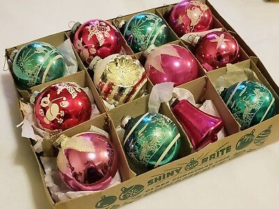 lot vintage ornaments striped indent bell shaped shiny brite pink & aqua blue