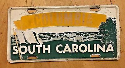 "Vintage 1960's  Columbia South Carolina Front License Plate "" Columbia "" Flag"