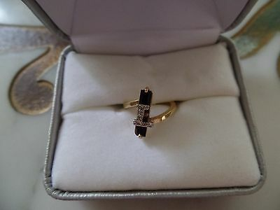 Vintage Pinky Initial L,Ring14K Yellow Gold,BlackOnyx/w Pave Diamonds,So Pretty