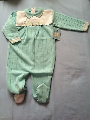 Vintage Baby Boy Size 0 Knitted Woollen One piece Jumpsuit Romper BNWT Trains