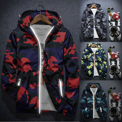 Men's Winter Slim Camo Hoodie Warm Hooded Sweatshirt Coat Jacket Outwear Sweater