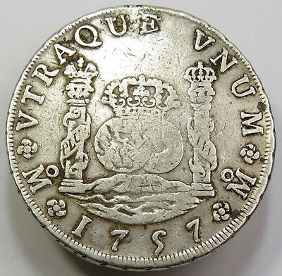 1757-Mo 8 Reales 8R Pillar Dollar Mexico Fernando VI Silver World #18895