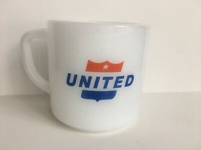 """Vintage United Airlines Glass Mug Cup """"Fly the Friendly Skies"""" Federal Glass Co."""