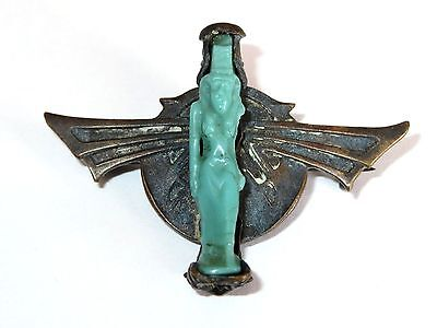 Ancient Egyptian Faience Pottery Amulet in Victorian Setting Pins