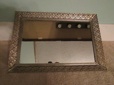 """Vintage Mirrored Vanity Tray with Brass Filigree Footed 16 3/8"""" by 11 1/4"""""""