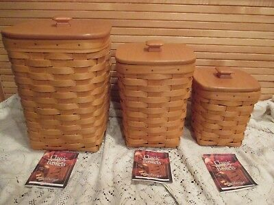Longaberger Set Of 3 Spoon Baskets With Protectors And Lids