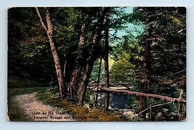 Postcard View on the Stage road between Blandford Russell MA c1910