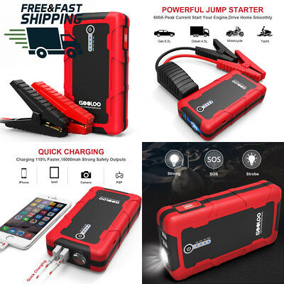 Gooloo 600A peak 15000 mAh car jump starter (up to 6 L petrol or 4.5 L...