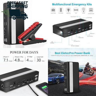 EletecPro Car Jump Starter, 15000mAh 600A 12-Volt Peak Portable Battery...