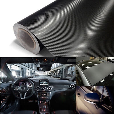 *3D Carbon Fiber Texture Matte Black Vinyl Car Wrap Sticker Decal Film Sheet