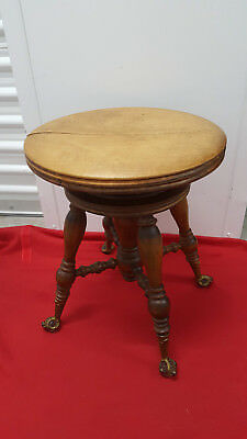 Victorian Piano Stool w/ Brass and Glass Claw Feet