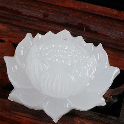 Chinese pure natural white jade hand-carved lotus flower pendant