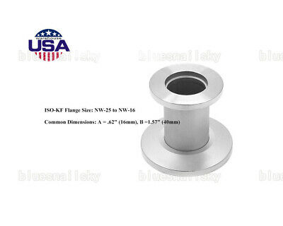 USA SHIP KF25 to KF16 Reducer Straight, 304 Stainless Steel Vacuum Adapter