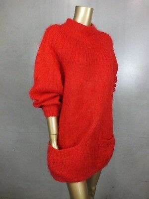 Vintage Sweater Jumper Fluffy Mohair Knit Top -  One Off Handmade - Vibrant Red