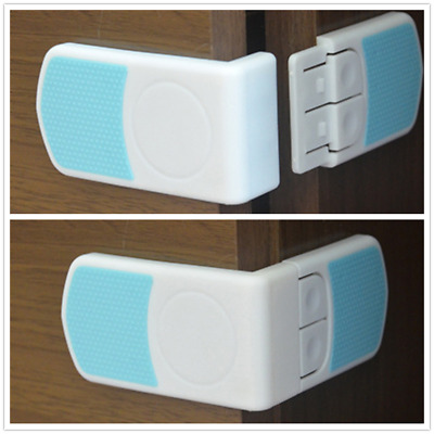 Dual Button Baby Drawer Door Cabinet Cupboard Toddler Safety Locks Blue+White