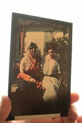 Autochrome Lumière glass plate 10x15 Italian Women Antique photo RARE plaque