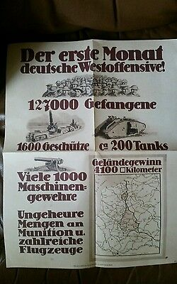 WW1 copy of German Poster Celebrating success of 1918 spring offensive 18x13""