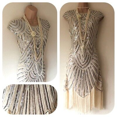 New Sequin Beaded Embellished Flapper 20's Gatsby Party Dress 8 10 12 14 Deco